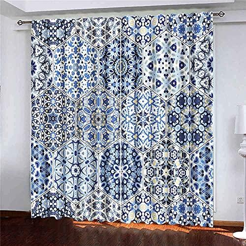 N\A Cortinas, 2 Paneles, Azulejos con patrón Oriental, Coloridos Elementos hexagonales, Papel de Envolver de Tela para la decoración del Dormitorio de la Sala de Estar