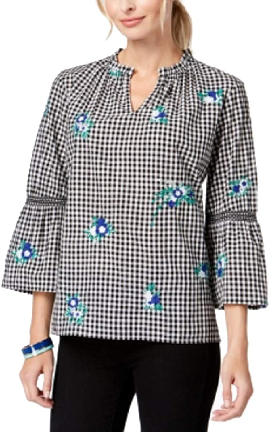 Charter Club Womens Embroidered Gingham Blouse
