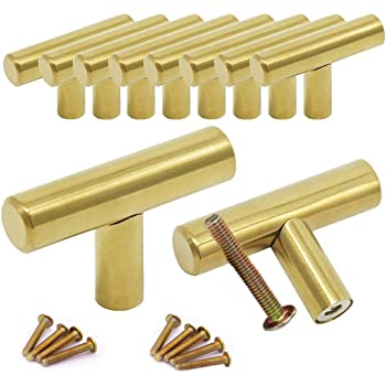 10 pomos redondos de lat/ón cepillado para armarios tiradores de caj/ón y tiradores de caj/ón pomos dorados para caj/ón tiradores de caj/ón de metal de 0,8 x 1 pulgadas y pomos de metal para armario