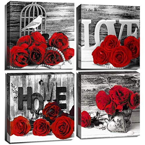 Bedroom Decor for Couples Red Bathroom Accessories Rose Pictures Wall Art Black and White Flower Canvas Prints Paintings Retro Floral Home Decoration 12x12 Modern Framed Artwork Girls Gift 4 Pcs/Set