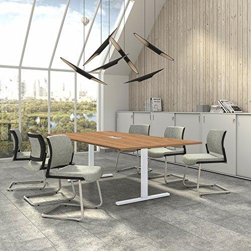 Easy Konferenztisch 240x120 cm Bernstein-Eiche mit ELEKTRIFIZIERUNG Besprechungstisch Tisch, Gestellfarbe:Weiß