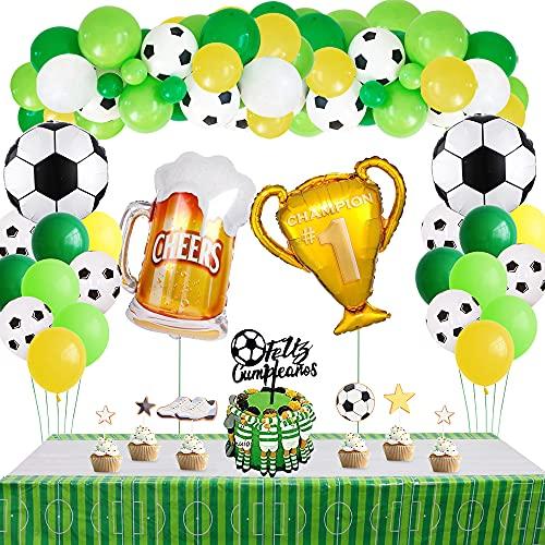Fútbol Fiesta Decoración,MMTX Deportiva Temática Fiesta Niño con Globo de Látex Amarillo Blanco Verde,Campeón Trofeo Cerveza Taza Fútbol Foil Globo,Mantel para Fiesta de Fútbol de Cumpleaños