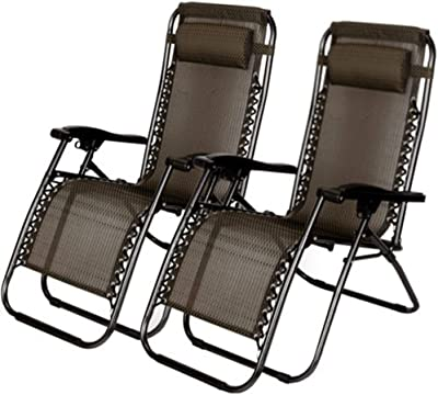 Amazcafe 2 PCS Zero Gravity Folding Lounge Beach Chairs Outdoor Recliner in Black Paid
