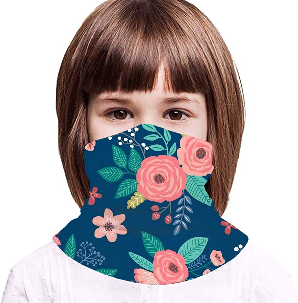 Vintage Antique Floral Flowers On Navy Blue Kids Face Mask Dust Sun UV Protection Neck Gaiter Balaclava Face Cover Scarf Summer Breathable for Cycling Fishing Outdoors