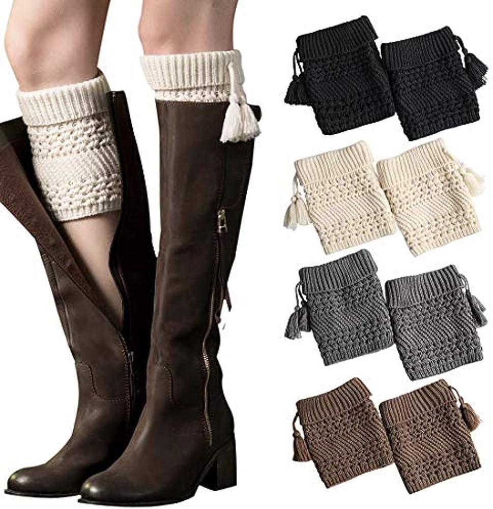 Womens Tassel Boot Cuffs Fall Knit Leg Warmer Winter Boot Socks for Women C Multicolor1