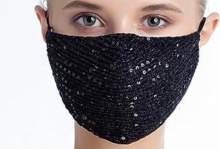 eBoutik - Mascherina per il viso con paillettes di alta qualità, traspirante, alla moda, ideale per pub/club/feste