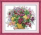 Kit de punto de cruz para adultos-DIY Cross Stitch estampado costura patrón de bordado Imágenes regalo-11CT Lienzo preimpreso- Cesta de flores de cereza
