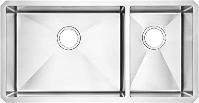 American Standard 18CR.9351800.075 Pekoe Undermount 35x18 Offset Double Bowl Kitchen Sink with included drain and bottom grid, Stainless Steel
