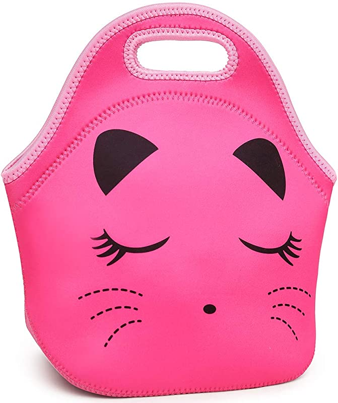 Moonmo Cat Face Unicorn Face Insulated Neoprene Lunch Bag For Women And Kids Reusable Soft Lunch Tote For Work And School Cat Rose