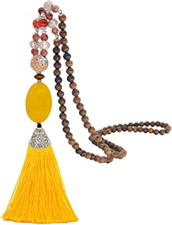 Bohemian Bird Shape Ceramic Style Necklace Polymer Clay Summer Jewelry Summer Accessories Cotton Threads Tassel Trendy 2019 White Denim Blue