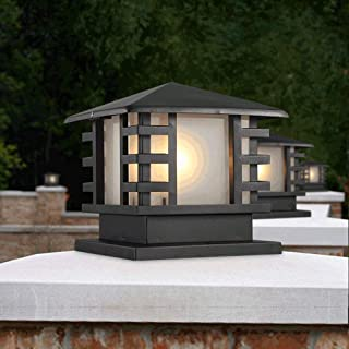 Rural Landscape Column Light External Rainproof Aluminum Post Light Traditional Square Pillar Lanterns American Country Outdoor Gate Villa Pool Terrace Fence Street Lighting Decorative Waterproof IP44