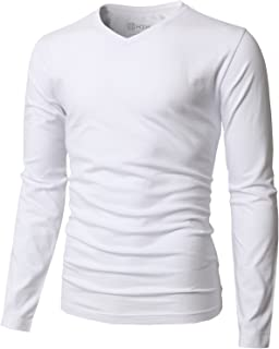 H2H Mens Casual Slim Fit Long Sleeve V-Neck T-Shirts