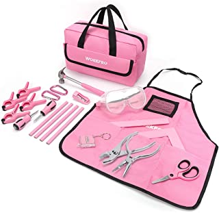 WORKPRO 23-piece Girls Tool Kit with Real Hand Tools, Safety Goggles, Storage Bag|Home DIY & Woodworking - Pink