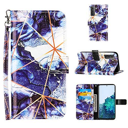Ostop Hülle Kompatibel mit Samsung Galaxy S21 Schutzhülle Brieftasche Premium Leder Flip Tasche Handyhülle für Mädchen Männer [Handschlaufe][Standfunktion][Kartenfach],Marmor Dunkelblau