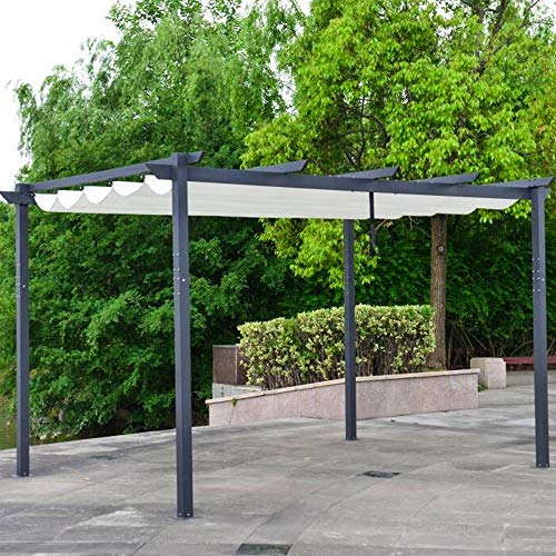 UKN White 13x10 Retractable Canopy Pergola Traditional Rectangular Polyester Uv Protected