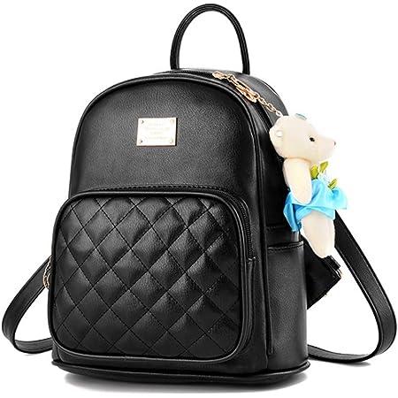 BAGZY Damen Rucksack wasserdichte Leder Schultaschen Klein Daypacks Anti-Diebstahl Tagesrucksack Mini Schultertaschen Casual Umhängetaschen Mädchen Handtasche Schwarz