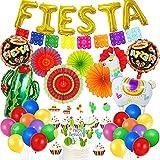 HQXCFB Decoraciones Fiesta Mexicana con Abanicos de Papel Coloridos Fiesta Globos de Papel de Aluminio Cactus de Alpaca Adorno de Torta para Fiestas Carnaval Fiesta de Cumpleaños del Cinco de Mayo