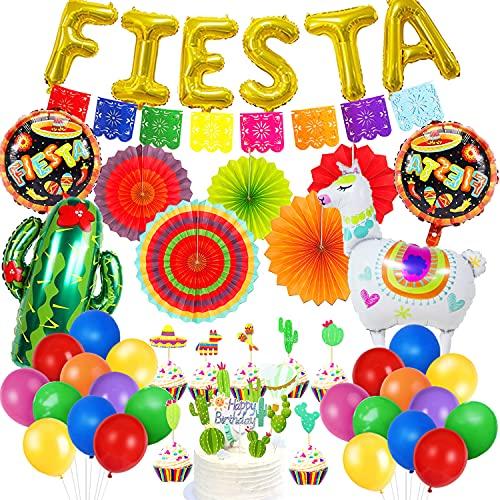 HQXCFB Decoraciones Fiesta Mexicana con Abanicos de Papel Coloridos Fiesta Globos de Papel de Aluminio Cactus de Alpaca Adorno de Torta para Fiestas Carnaval Fiesta de Cumpleaños del Cinco de Mayo 🔥
