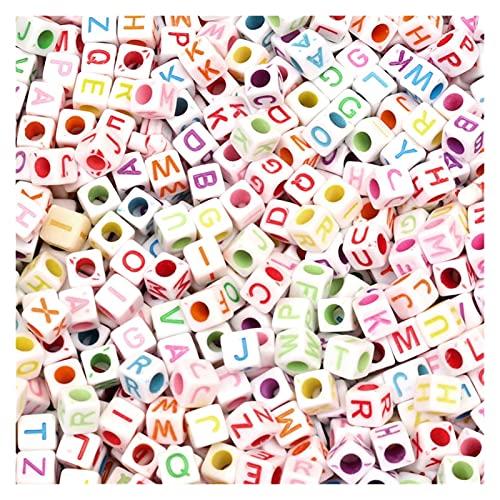 200 Piezas de 6 mm Cuadrados Multicolor Multicolor Beads Beads Acrílico Bulk Handicraft Jewelry Hacienda DIY Pulsera Creativa Collar Joyería (Color : H5304, Item Diameter : 6mm 200pcs)