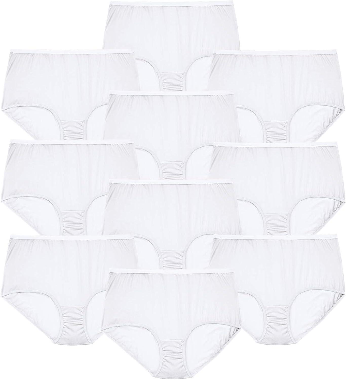 Comfort Choice Women's Plus Size 10-Pack Pure Cotton Full-Cut Brief Underwear