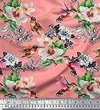 Soimoi Orange Samt Stoff Kolibri, Laub & Magnolie Blumen-