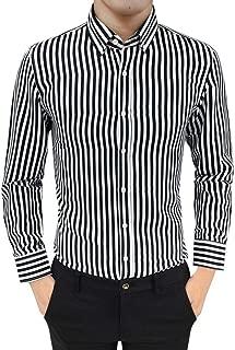 Sale! Teresamoon Mens Suit Fit Long Sleeve Button Striped Down Dress Shirts Tops Blouse