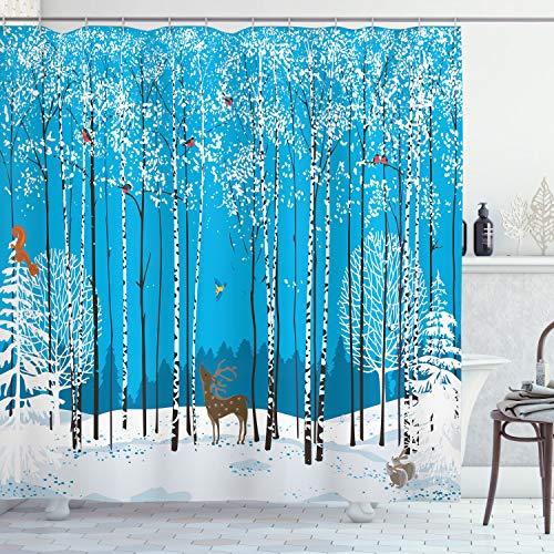 ABAKUHAUS, Weihnachten, Duschvorhang, Schnee bedeckte Wald, Leicht zu pflegener Stoff mit 12 Haken Wasserdicht Farbfest Bakterie Resistent, 175 x 180 cm, Mehrfarbig