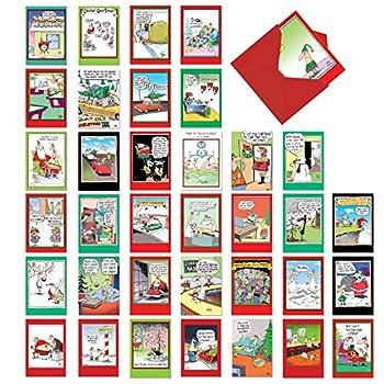 NobleWorks - 36 Boxed Christmas Cards Funny - Assorted Notecards of Cartoons Animals Bulk Xmas Assortment with Envelopes - A Mccoy Bros Christmas AC7139XSG-B1x36
