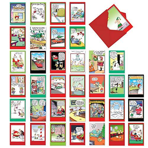 NobleWorks - 36 Boxed Christmas Cards Funny - Assorted Notecards of Cartoons, Animals, Bulk Xmas Assortment with Envelopes - A Mccoy Bros Christmas AC7139XSG-B1x36