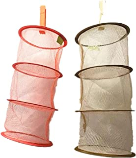 2 Pcs Hanging Mesh Storage Basket,Foldable Space Saving Mini Toy Organizer 3 Compartments Organizer for Travel,for Kids Ro...