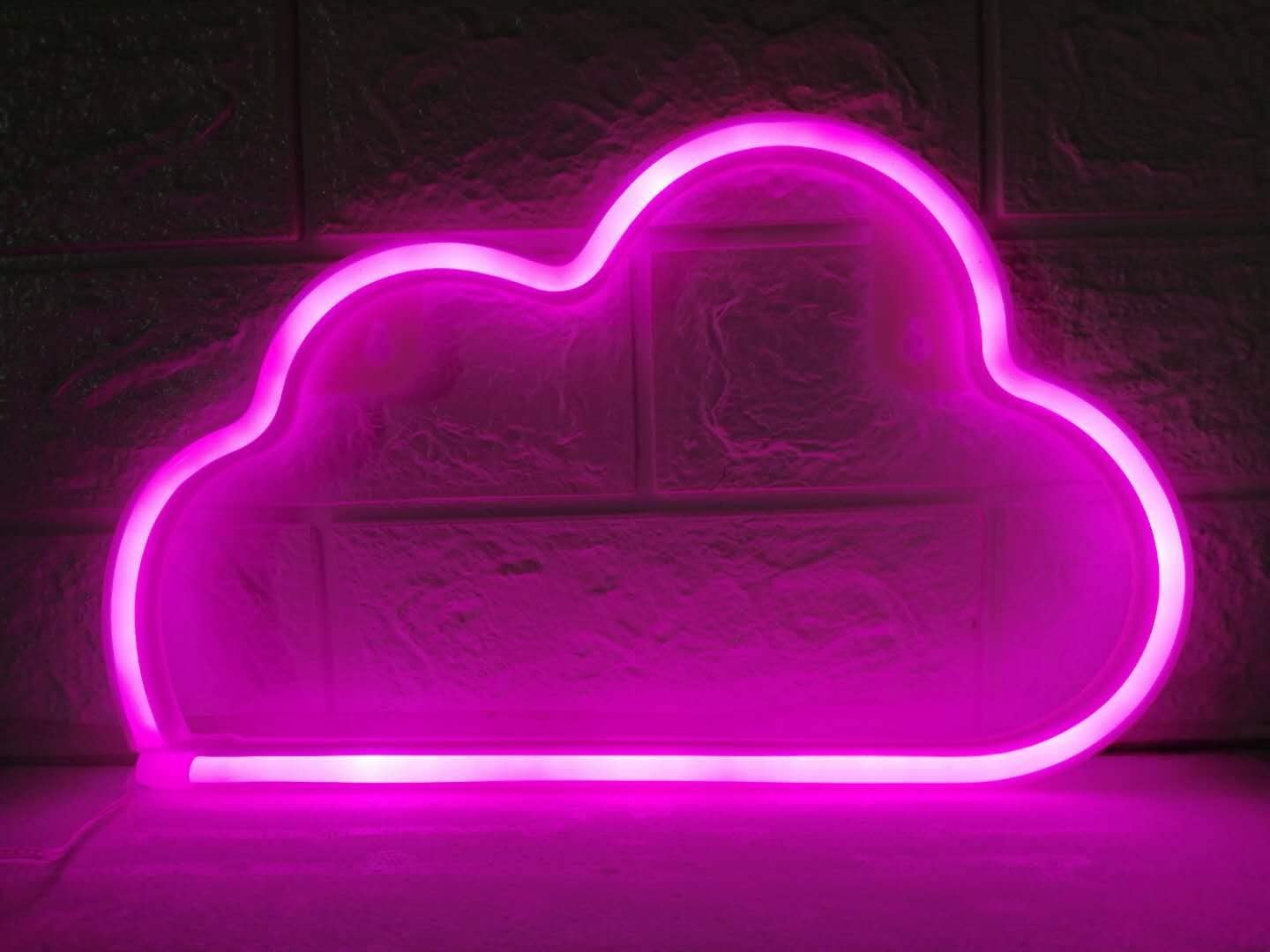 LDGJ Cloud Light Neon Signs Neon Lights for Wall Decor,USB or Battery LED Signs for Bedroom, Decorative Neon Light Sign for Christmas,Birthday Party, Living Room, Girls,Kids Room(Pink)