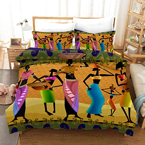 aakkjjzz Superking Duvet Covers Easy Care Hypoallergenic 3 Pcs Bedding Set Microfiber Machine Washable Quilt Cover 220X260cm And 2 Pieces Pillowcases 50X75cm African Woman for Super King Size Bed