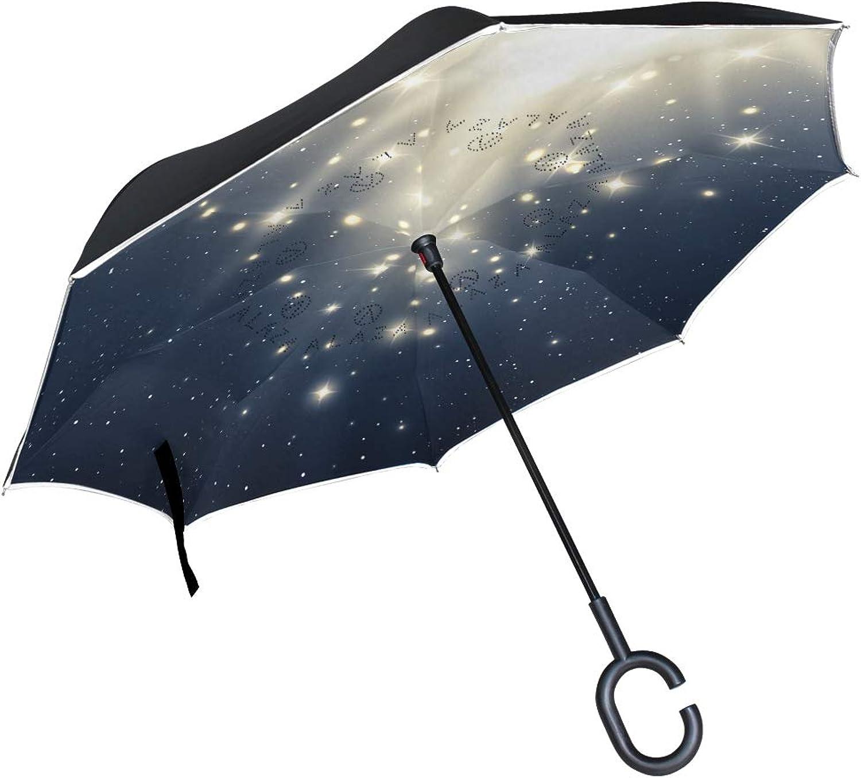 Ingreened Umbrella Double Layer Reverse Umbrella Waterproof Windproof UV Predection Straight Umbrella with CShaped Handle Magic bluee Light Digital Printing for Car Rain Outdoor Use