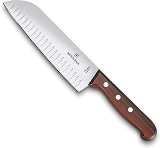 Victorinox Rosewood Küchen-/ Santokumesser mit Holzgriff, 17 cm Klinge, Kullenschliff, Palisandergriff, Rostfrei, Geschenkbox,