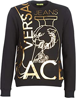 Versace Jeans Cotton Round Neck Black/Gold Sweatshirt