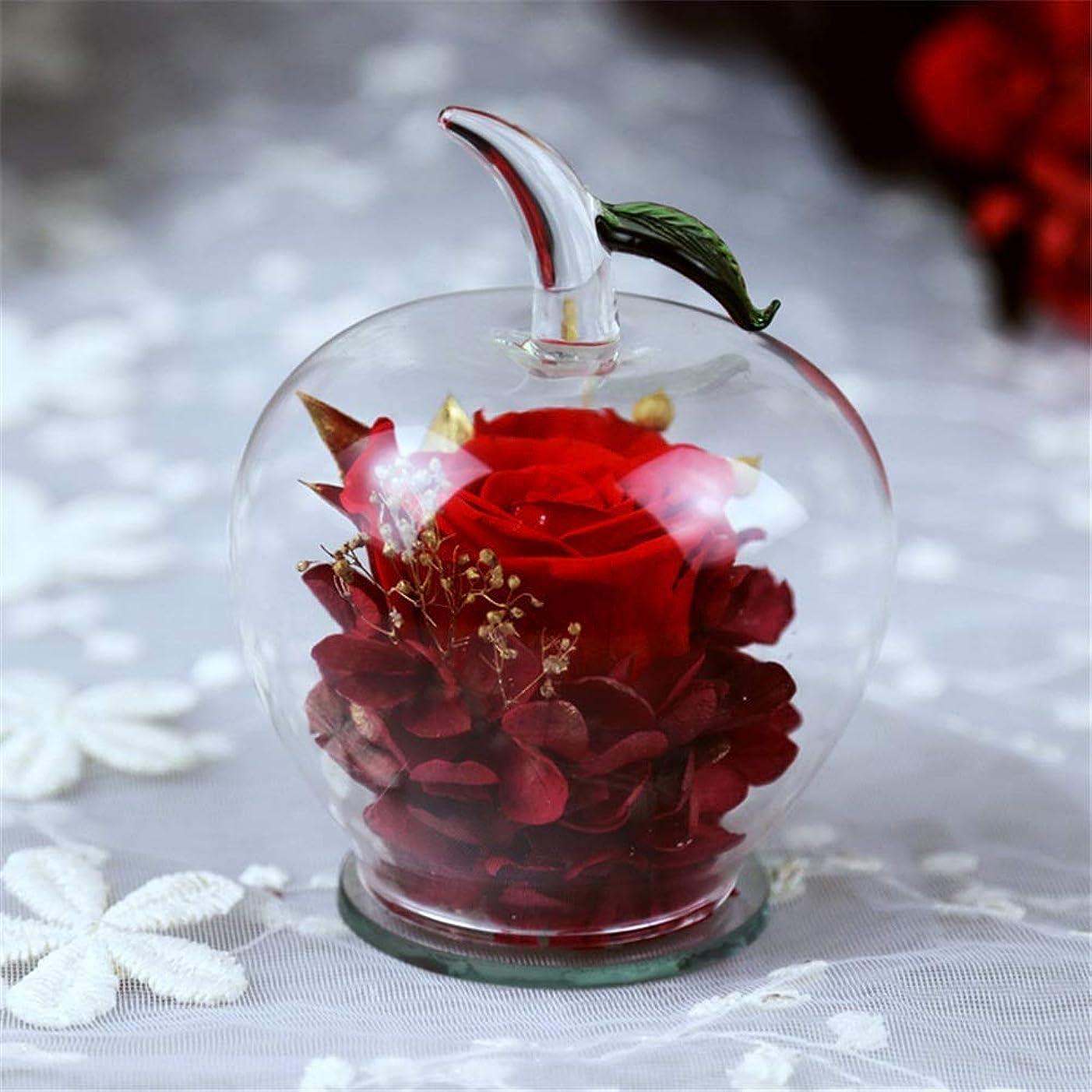ホスト任意ペナルティ枯れない花 生花 バレンタインデー、母の日、誕生日のためにAppleの形のガラスの最高の贈り物で手作りプリザーブドフラワーローズインテリア ト入り 母の日、記念日などのプレゼントに最適 (色 : 赤, サイズ : 9.5x10.5cm)