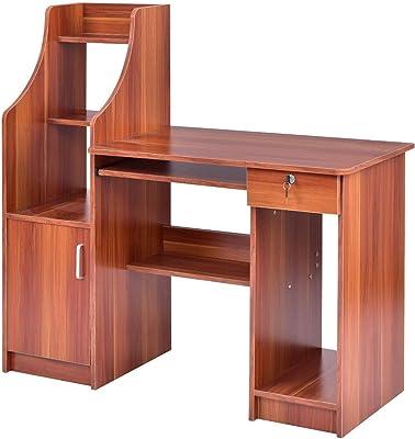 "Red Walnut 44"" MDF Computer Desk Study Workstation Table w/Bookshelf with Ebook"