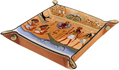 Storage Tray Ancient Egypt Scene with Egyptian Gods and Pharaohs Murals Hieroglyphic Desk Storage Plate for Key Wallet Coin J