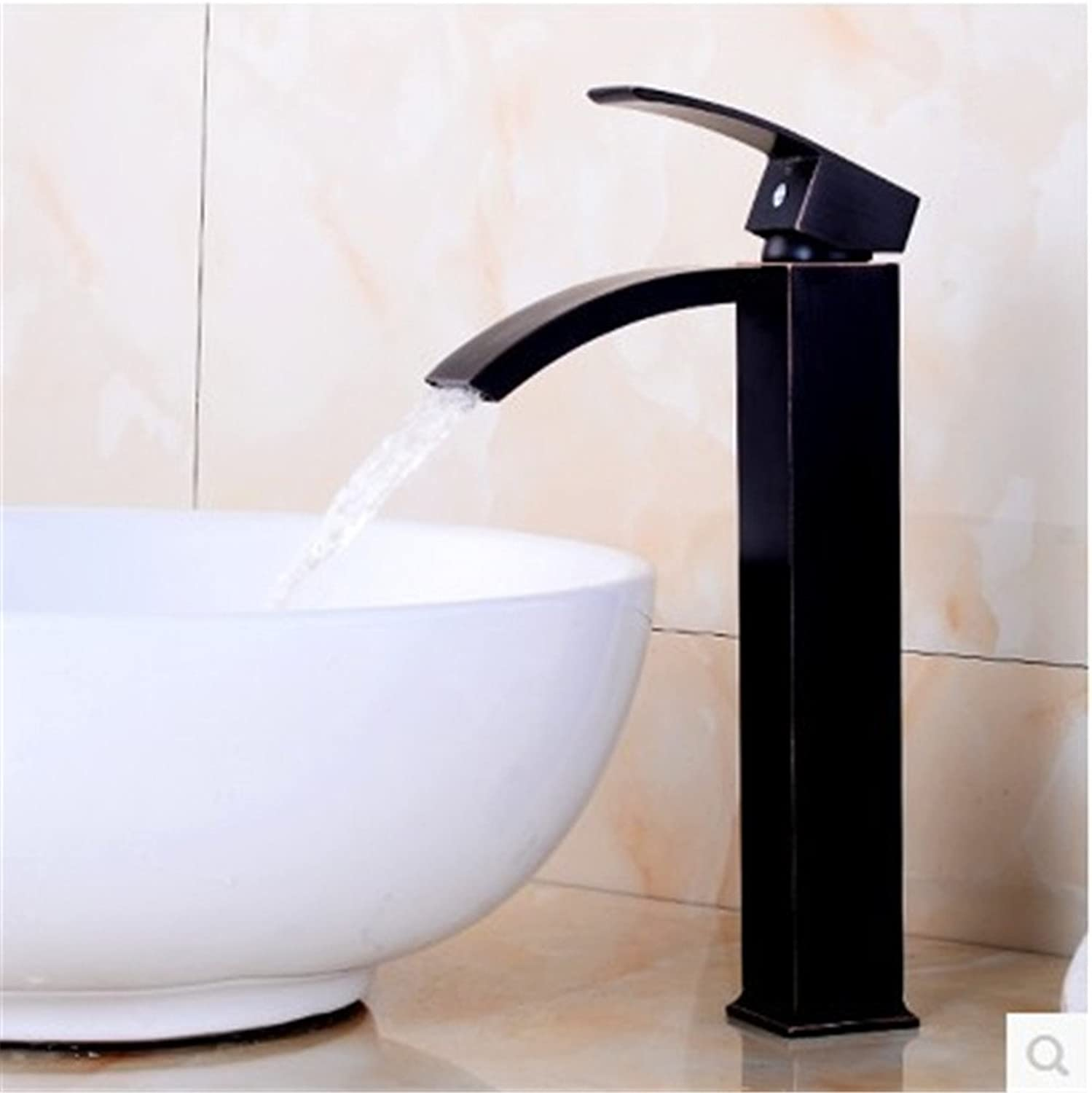 FHLYCF Basin faucet, all copper waterfall, European Style