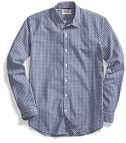 Amazon Brand - Goodthreads Mens Standard-Fit Long-Sleeve Gingham Plaid Poplin Shirt, Navy/White Micro Check, XX-Large