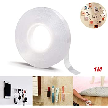 Poster Double Sided Adhesive Tape Kitchen 1m Wall Traceless Clear Gel Mat Tape Nano Washable Reusable Removable Anti-Slip Gel Sticky Tape for Home