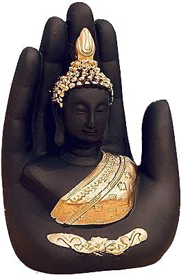 Global Grabbers Polyresin Lord Buddha Idol, Small, Black, 1 Piece