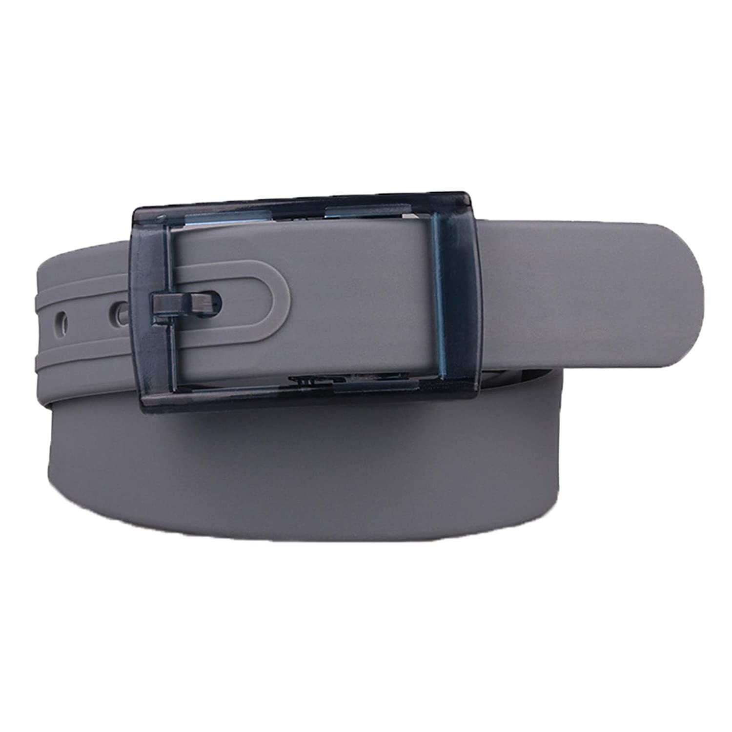 Unisex Women Men Adjustable Rubber Belt Casual Plastic Belt Silicone Belts with Plastic Buckle by Buenos Aire (Gray)