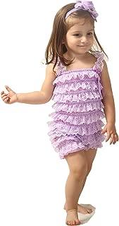 purple lace ruffle romper