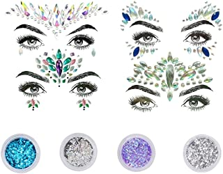 4 Sets Rhinestone Rave Mermaid Face Gems Festival Jewels Tattoo Crystals Face Tears Bindi Temporary Stickers + 4PCS Body Glitter, for Music Festivals Bohemian Party (4 Sets + 4 Pcs)