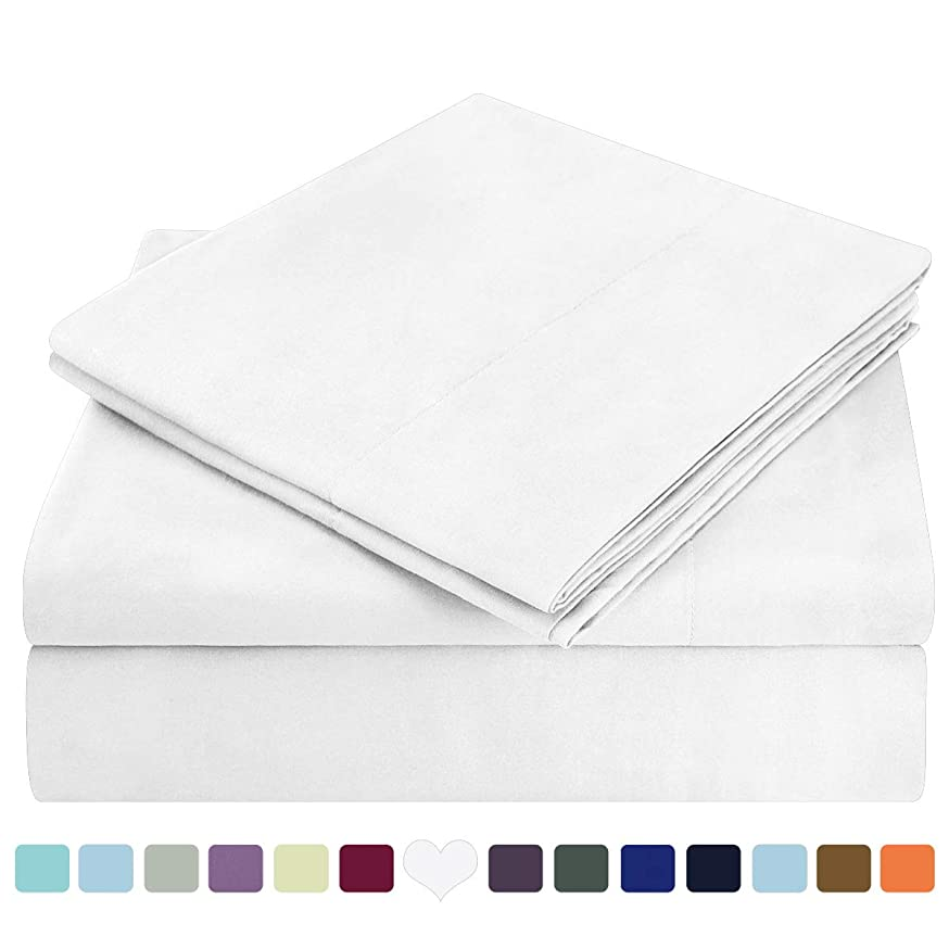 HOMEIDEAS Bed Sheets Set Extra Soft Brushed Microfiber 1800 Bedding Sheets - Deep Pocket, Hypoallergenic, Wrinkle & Fade Free - 4 Piece(Queen,White) vgzhmzhlldkmy294