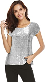 02dbe1ae860 Women Sequin Tops Glitter Shimmer Tunic Loose Bat Sleeve Sparkle T-Shirt  Blouses Cocktail Party