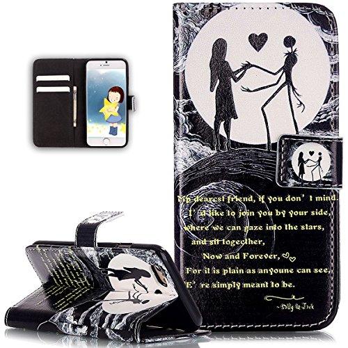 Cover iPhone 6S,Cover iPhone 6,ikasus Modello in rilievo dipinto arte colorata Flip Cover Portafoglio PU Pelle Protective Wallet Stand Custodia Cover per iPhone 6S/6 Custodia,Moon Lover
