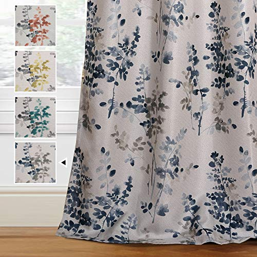 H.VERSAILTEX Linen Blackout Curtains 84 Inches Long Room Darkening Burlap Effect Linen Curtain Draperies for Living Room/Bedroom Bluestone and Taupe Vintage Classical Floral Printing Grommet 2 Panel