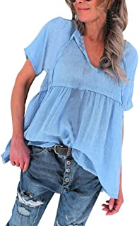 Sandwind Casual Plus Size Tops for Women Short Sleeve Solid Color V-Neck Blouse White Black Red for Daily Home Party Beach...